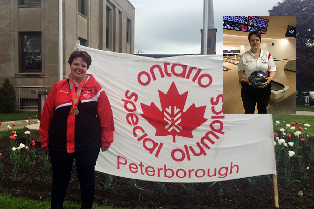 Crystal in front of Special Olympics Ontario Peterborough banner